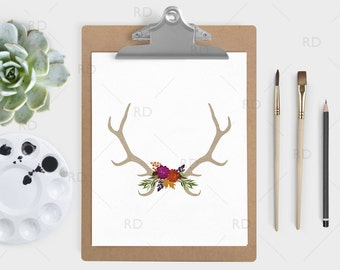 Antlers with Fall flowers PRINTABLE Wall Art / Fall floral wall art / Antlers wall print / Antlers and bouquet print / 3 for the price of 1!