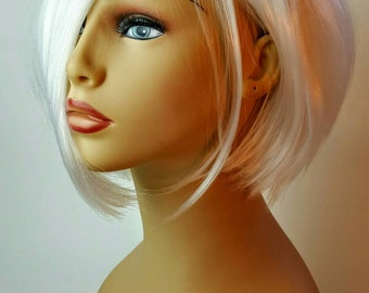 Short A-line Platinum Blonde Wig, Stacked A-line Bob, Short Platinum Blonde Wig, also in Black!