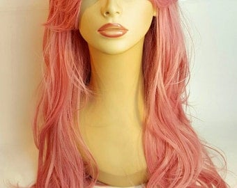 Long Pink Wig, Long Wavy Pink Wig, Long wavy hairstyle with side swept bangs, Soft pink hair wig