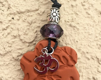 OM Charm Terra Cotta Pendant Necklace (Includes Essential Oil of Your Choice)