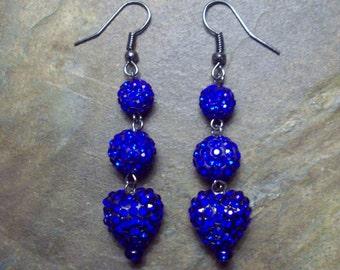 Royal Blue Pave Bead Earrings