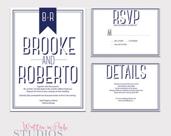 Wedding Invitation, PRINTABLE  Wedding Invitation Set, Custom Wedding Invitation, Printable Invitation Template, Modern Wedding Invite