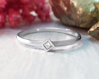 Princess Cut Diamond Solitaire Band | 0.03CT Diamond | Stackable Ring | Solid 14K Gold | Fine Jewelry | Free Shipping