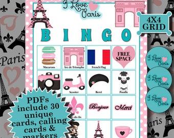 I LOVE PARIS 4x4 Bingo printable PDFs contain everything you need to play Bingo.