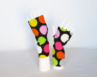 Fleece Fingerless Gloves – Polka Dot Texting Gloves, Driving Gloves, Wrist Warmers, Hand Warmers, Stocking Stuffers, Christmas GIft Idea