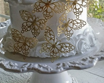 6 Romantic Shimmering Gold Butterfly Topper