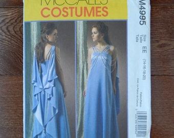 Dress & Drape Sewing Pattern Close Fit, Floor Length /McCall's 4995 Costume/Misses Size 14-16-18-20/Plus Evening Gown Shoulder Staps/Uncut