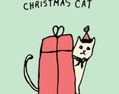Christmas card - greeting card - cat drawing - animal drawing - christmas cat