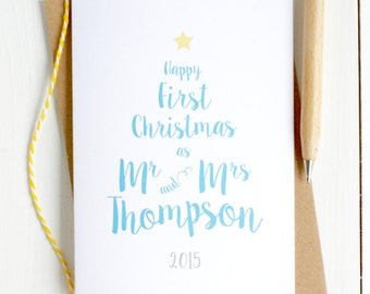 First Christmas as Newlyweds Personalised Card - Christmas Card for Newlyweds - First Christmas as Mr and Mrs - Newlyweds Christmas Card