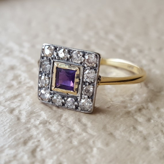 vintage antique deco amethyst and halo