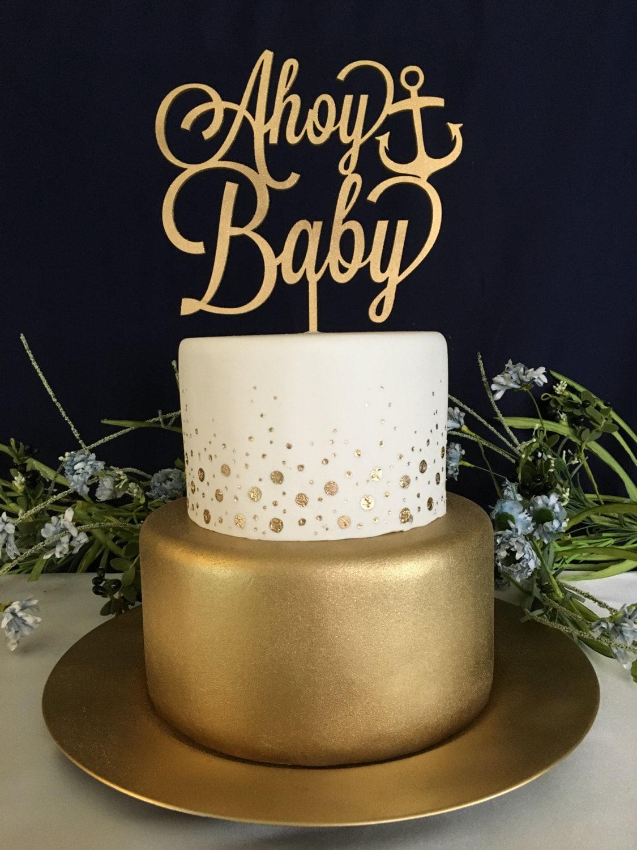 Gender Reveal Cake Topper, Nautical Baby Shower, Baby Shower Cake Topper,  Ahoy Baby Cake Topper, Baby Girl Cake Topper, Baby Boy Cake Topper