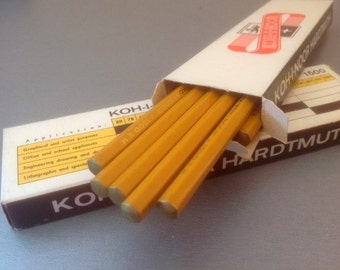 Wood Pencils In Paper Box, vintage koh-i-noor pencils, unused Czechoslovakia Kohinoor L. & C. Hardtmuth 12pcs