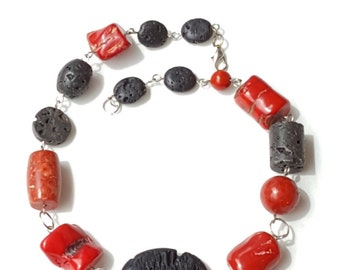 Coral & Lava Necklace~Chunky Beaded Necklace~Cherry Red Coral, Black Lava Linked~Boho Statement Necklace!~by JewelsandMetals.