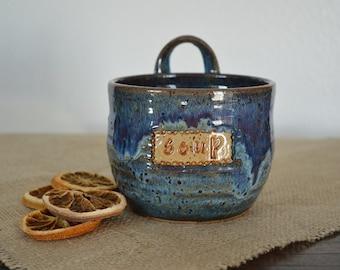 Soup bowl, soup mug, chowder bowl, noodle bowl, pottery bowl, blue bowl, soup, chili bowl
