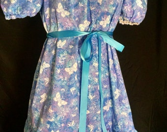 ABDL/Little/Sissy Ruffled peasant dress- blue and purple butterflies