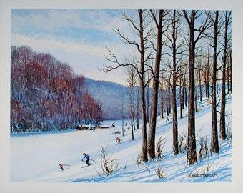 Ski Print, Ski Art, Ski Poster, Ski Decor, Downhill Skiing, Snow Ski, Indiana Art, Vintage Ski, Vintage Wall Art, 70s Art, Winter Sports