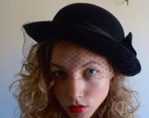 """1970's VINTAGE """"SYLVIA"""" HAT New York St. Louis/ Black 100% Wool/ Satin Bow/ Black Netting/ Goth/ Classic Look/ Bowler Hat/ Free Shipping"""