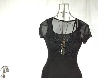 Black Sheer 90s Vintage Dress