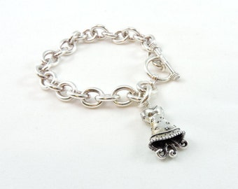 Chunky Sterling Silver Toggle Bracelet With Dress Makers Charm 7 1/2""