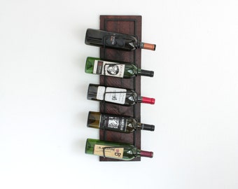 Wall Mounted Wine Rack | Rustic 5-Bottle Wooden Wine Bottle Display Holder