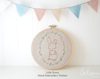 Little Bunny, Hand Embroidery PDF Pattern - Instand Digital Download // Hand Embroidery Design // Nursery Art // Needlecraft design