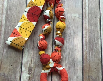 CLEARANCE Fabric Teething Necklace, Breastfeeding necklace, Nursing necklace & Babywearing necklace