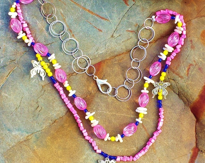 SALE - WAS 69.99 - Pink Marble Layering Necklace ~ Fresh Summer Multi Strand Necklace ~ 30th Anniversary or Birthday Gift ~ Youthful & Fun