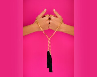 Black Tassel Necklace, Tassel Necklace, Boho Chain Necklace, Boho Necklace, Long Tassel Necklace, Long Necklace, Long Layering  Necklace
