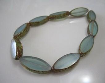 Blue Czech Glass Spindle Beads Blue Glass Beads Oval Czech Glass Beads Oval Beads Blue Picasso Czech Beads 17x8mm (6pcs) 184V3