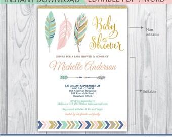 boho baby shower invitation, tribal baby shower invitation, feather baby shower invitation, arrow, navy blue, mint, teal, pink, coral