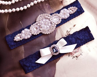 Wedding Garter Set, Crystal Rhinestone Garter Set on a Navy Blue  Lace Garter Set with Pearl & Rhinestone