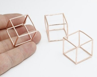 1 Pcs 25mm Rose Gold Cube Pendant, Rose Gold Cube Necklace, Open Cube Beads, ROSE376