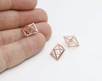 1 Pcs 12mm Rose Gold Open Cube Necklace, Open Cube , ROSE382