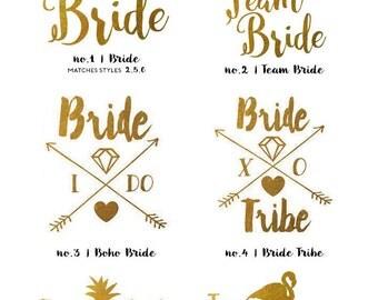 Bachelorette Tattoos | Metallic Gold Temporary Tattoos for Bachelorette Party Favors, Pineapple Flamingo Bride Tribe Tattoos, Gold Foil Tats