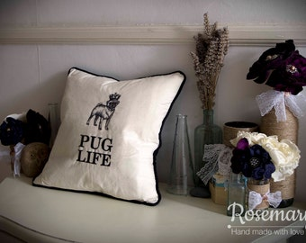 """Pug Life Embroidered Piped Cushion Cover 35cm x 35cm (14""""x14"""")"""