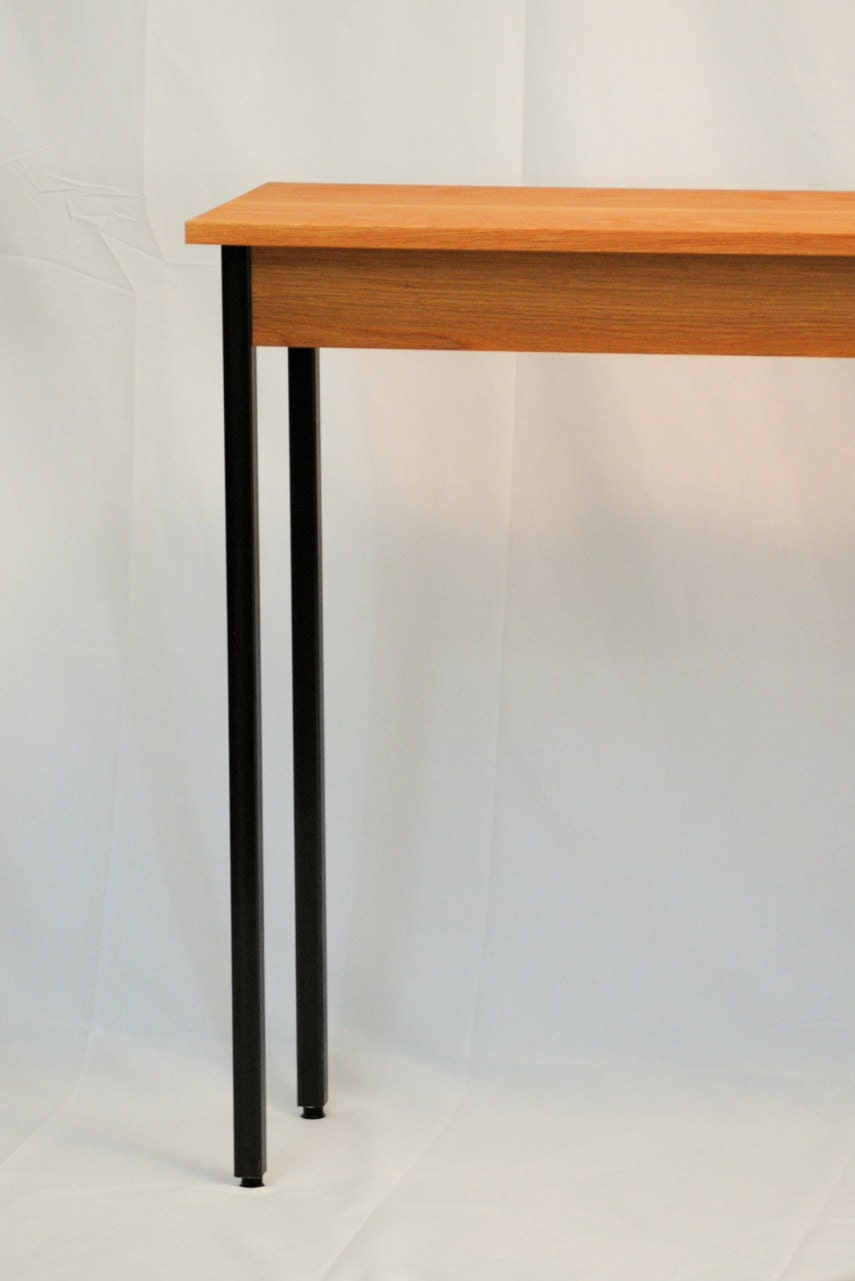 Oak console table with metal legs a great sofa table or for Sofa table leg height