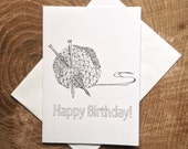 Knitting Birthday Card: Birthday Coloring Card - Zentangle Birthday Card - Coloring Birthday Card - Cute Card - Printed Birthday Card