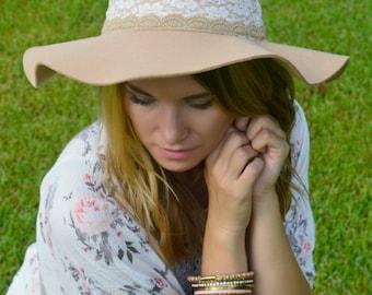 Tan Lace Floppy Hat
