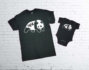 Papa Panda Bear Tshirt. Baby Panda Bear baby body suit. Father and Son T-shirts.