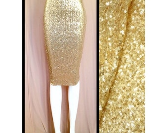 Pencil Shiny Gold Sequin Skirt
