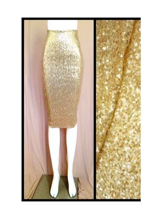 shiny gold sequin pencil skirt by sparklemegorgeous on etsy