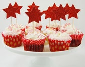 Set of 12 Large Red Glitter Star Cupcake Toppers