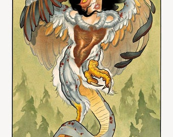 HARPY--high quality 14x24 giclee print of original artwork by tattoo artist Tex