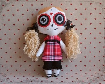 Edith: original gothic fabric doll inspired by the Mexican Catrina, sugar skull. Day of the Dead. Black and red. Halloween