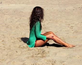 Emerald Asymmetick  Sweater, Loose Waves Sweater, Loose Knit Sweater, Beach Sweater, Summer Sweater
