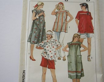 EASY Vintage 1980s Retro Maternity Patterns, UNCUT Simplicity 6857 sewing pattern, size 10, pants, shorts, dress, top