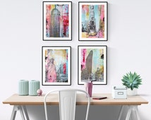 new york  painting ,wall art ,wall art prints, art print ,   abstract  painting   from Jolina Anthony