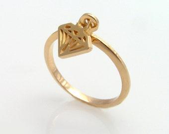 Gold dangle ring, Gold Dangling diamond Ring, Dangle Charm Ring