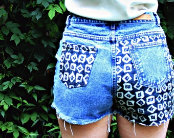 Custom Denim Shorts Cutoff Jeans High Waisted Bill Blass 32 Waist Frayed Shorts