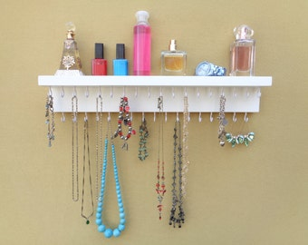 LOTS of OTHER COLORS! - Jewelry Organizer - Necklace Holder -  Jewelry Display - With A Shelf - 35 Hooks - Satin White - Hangers Installed